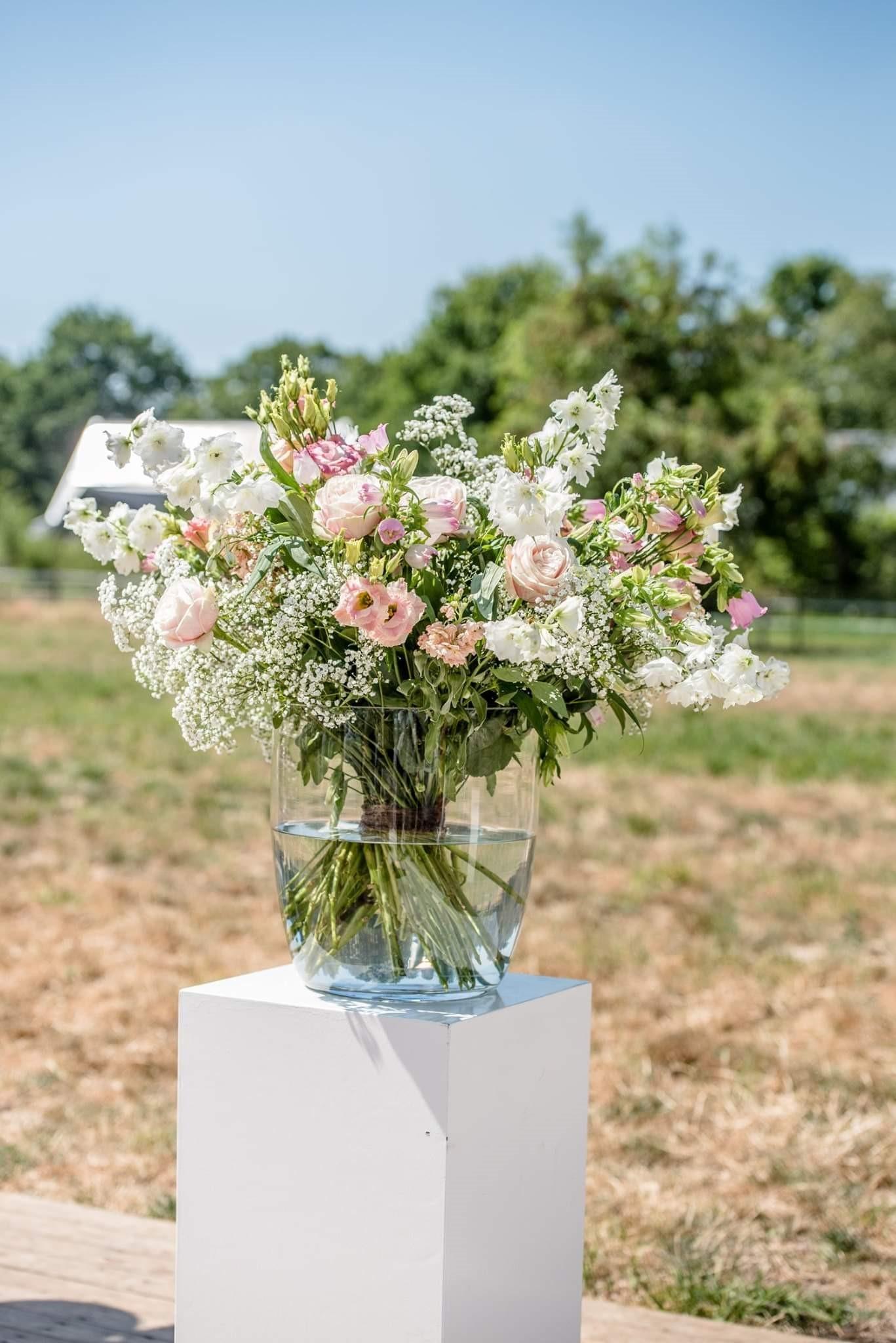 boeket wit roze